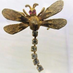 Vintage Scatter Pin Dragonfly Brooch Rhinestones